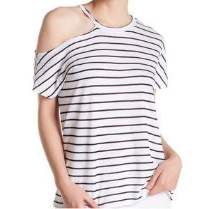 Stateside Black Striped Off-Shoulder Knit T-Shirt